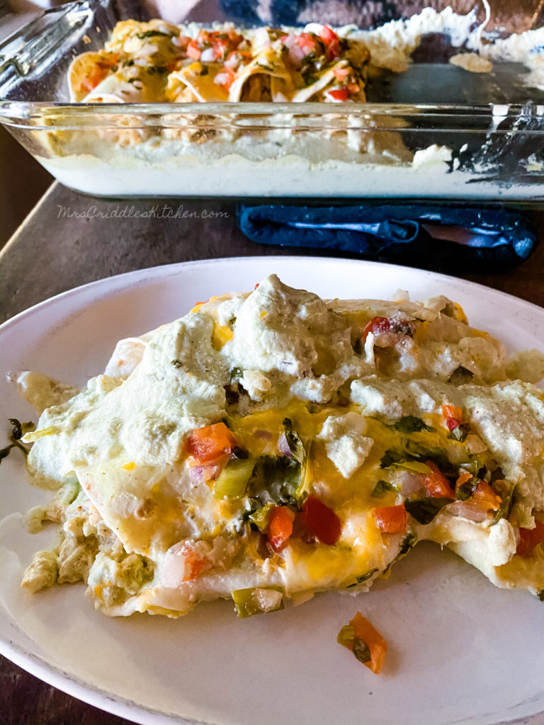 Sour Cream Chicken Enchiladas- THM, Low Carb