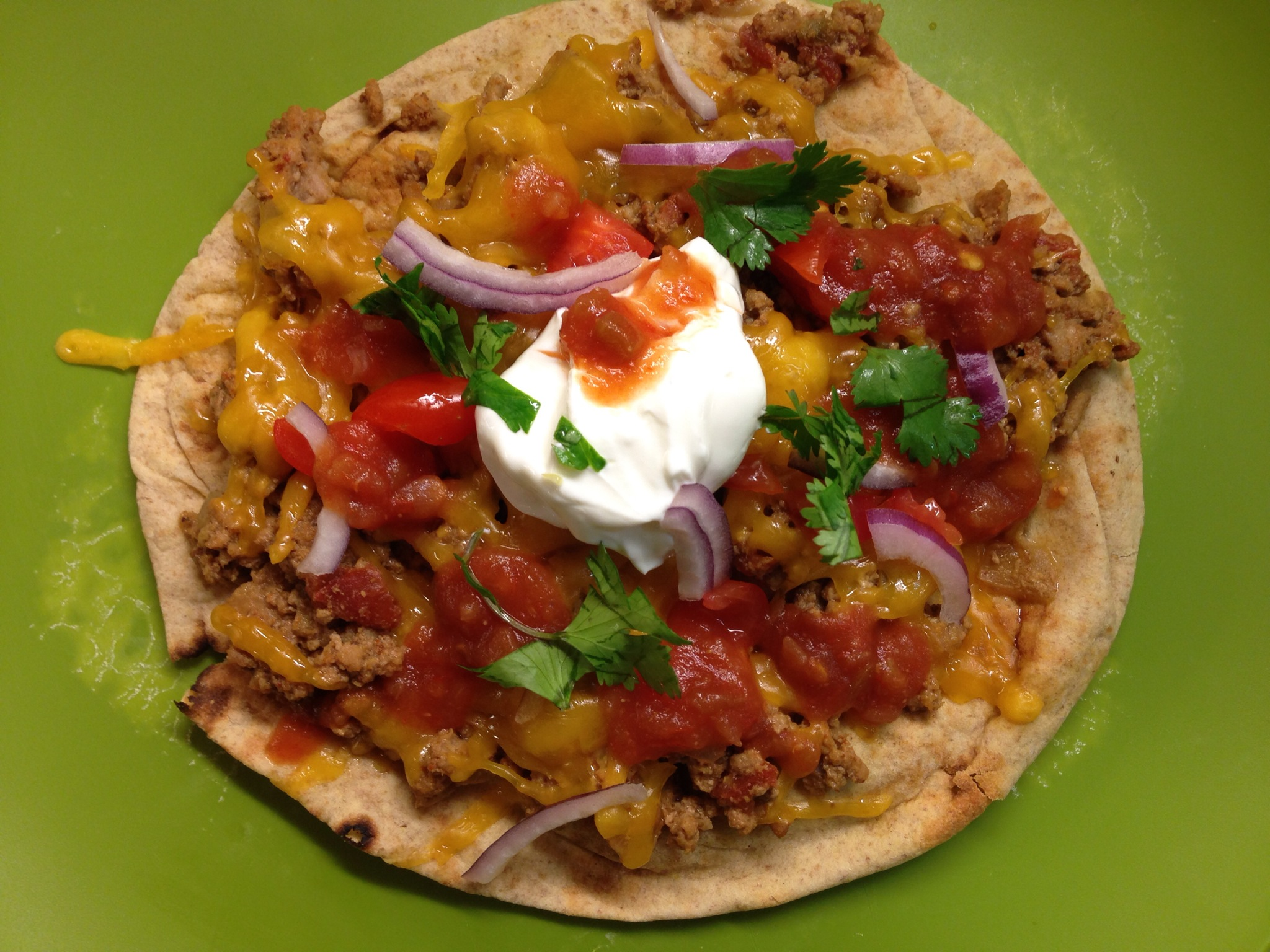 Taco Pizza with Sour Cream