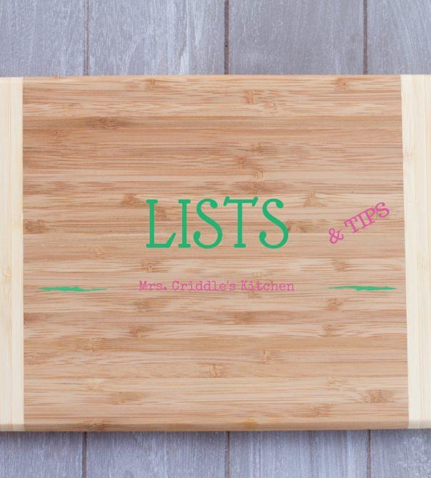 Lists & Tips