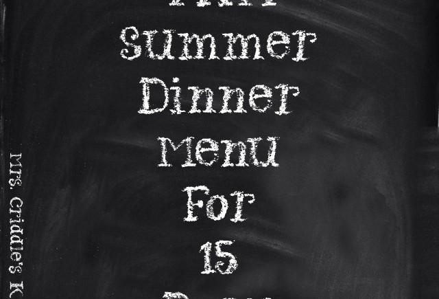 THM Summer Dinner Menu for 15 Days