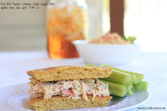 Red Bell Pepper Chicken Salad (THM S, Gluten Free, Sugar Free, Low Carb)