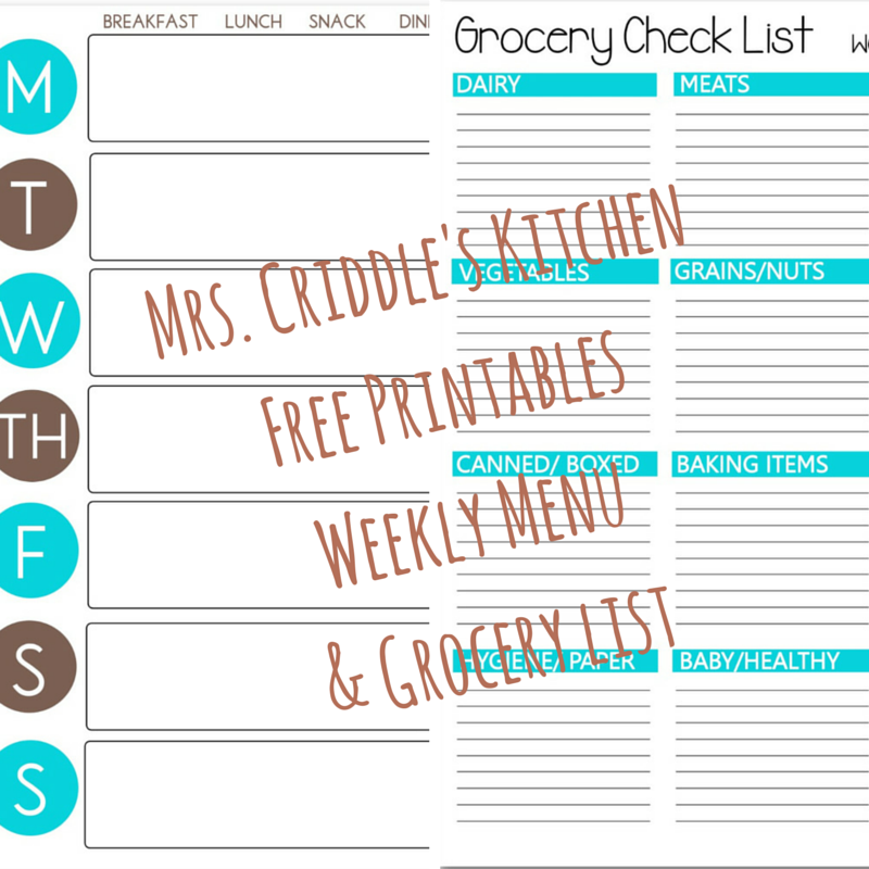 Free Printable Weekly Menu & Grocery List to keep you ON PLAN!