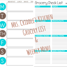 Weekly Menu & Grocery List Free Printables