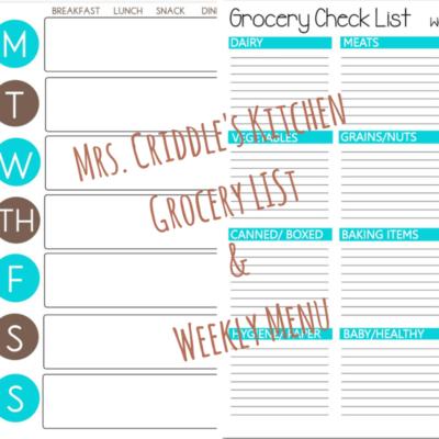 Weekly Menu & Grocery List Free Printables
