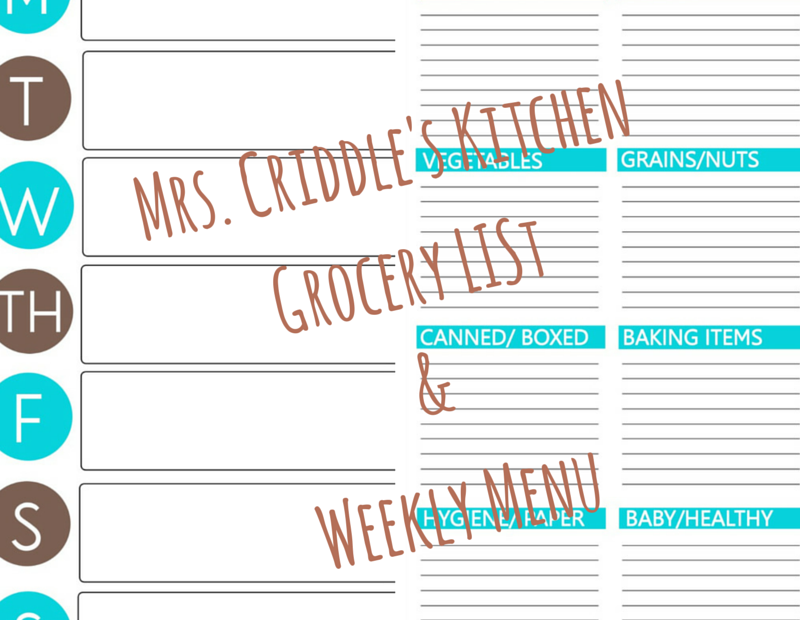 Free Menu & Grocery Lists Printables to keep you on PLAN!