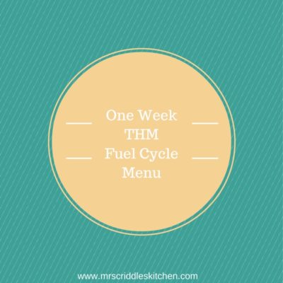 One Week THM Fuel Cycle Menu