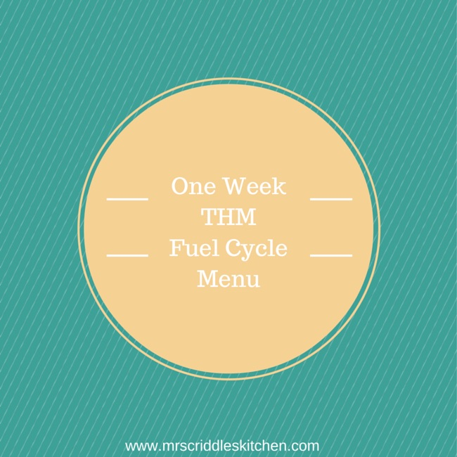 A One Week Fuel Cycle Menu for THM.