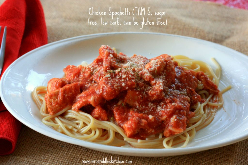 "Chicken Spaghetti- a different take on ""regular"" spaghetti. THM S, Sugar Free, Low Carb & Gluten Free."