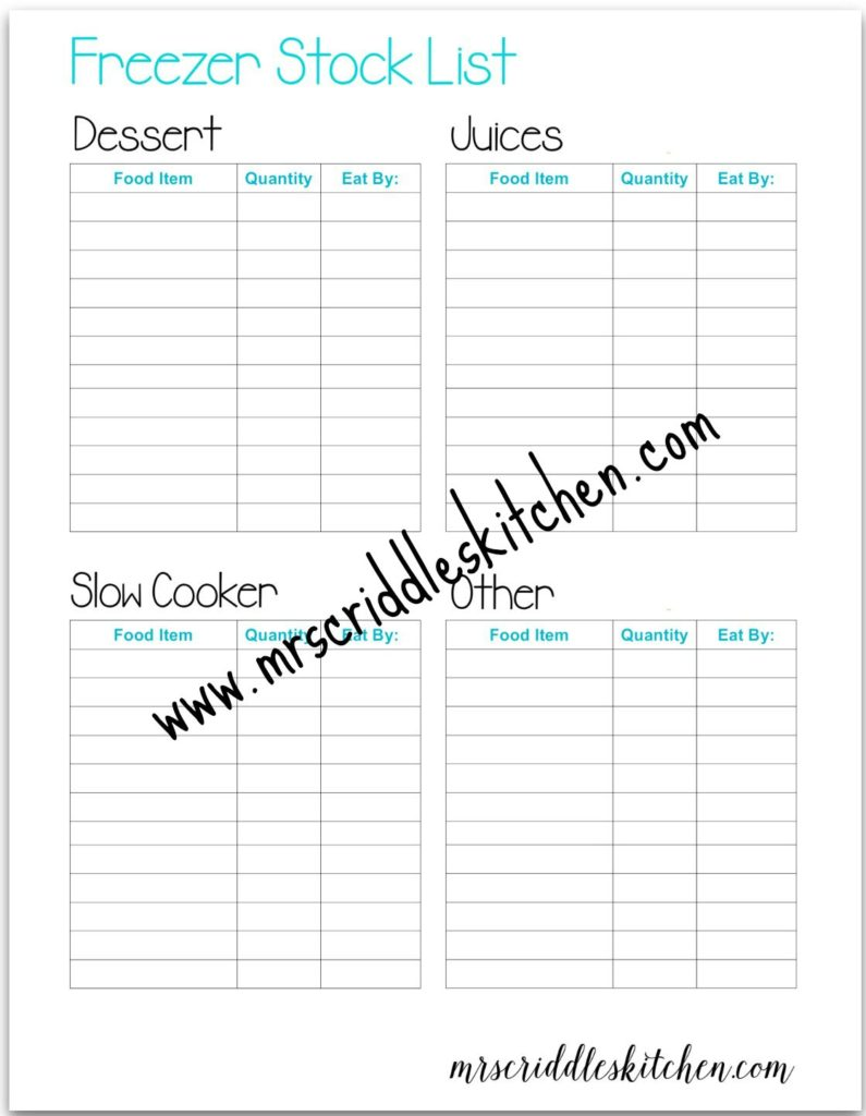 A free Printable Freezer Stock List