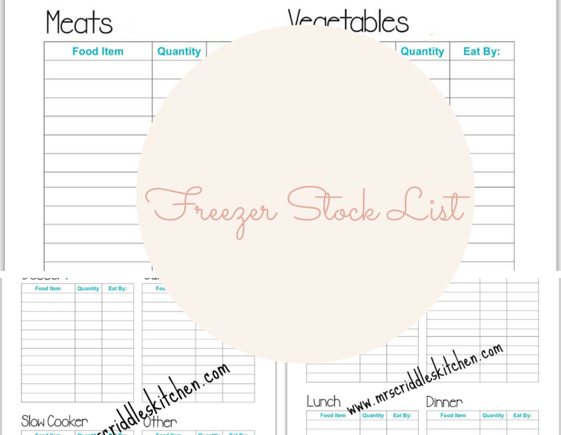 Freezer Stock List Free Printables