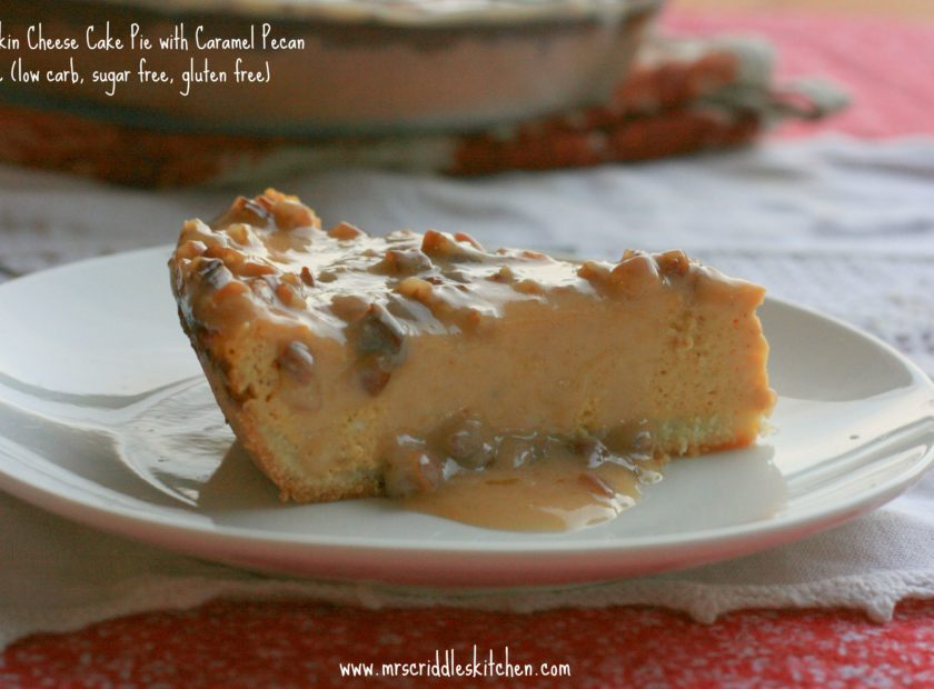 Pumpkin Cheese Cake Pie with Caramel Pecan Sauce