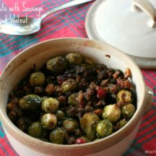 Brussel Sprouts with Sausage & Candied Walnuts