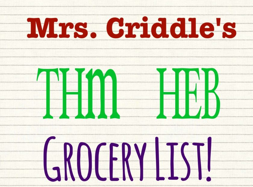 THM HEB GROCERY LIST