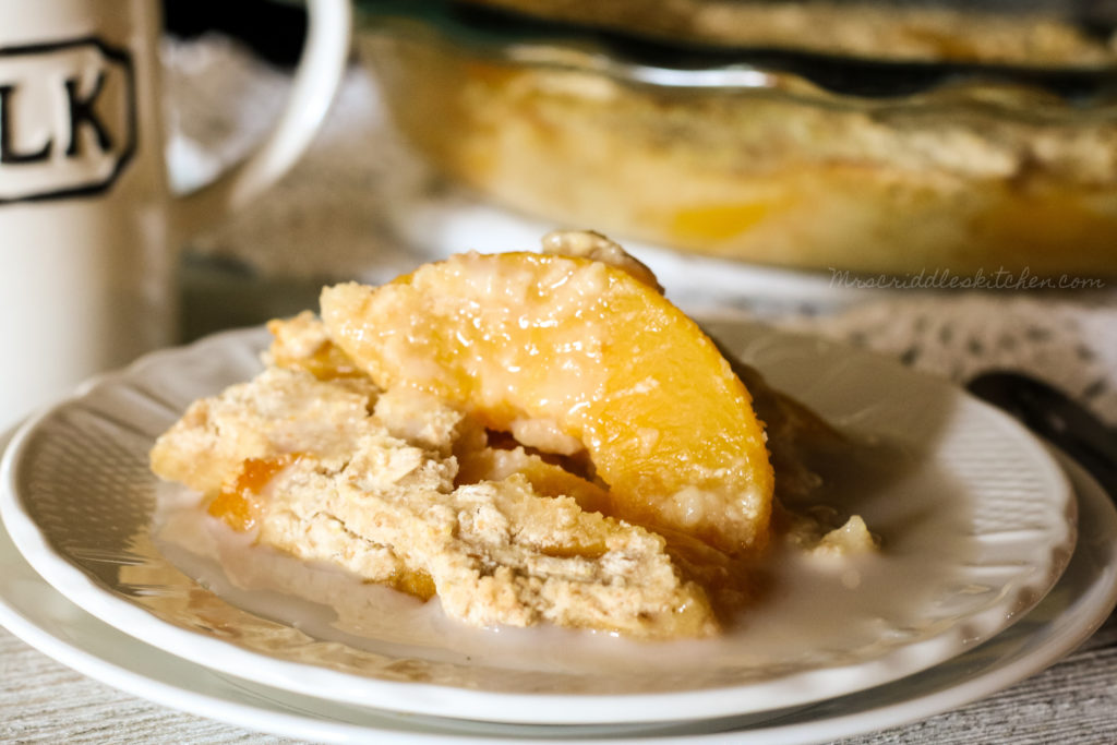 Peach Cobbler Breakfast Bake (THM E, Low Fat, Sugar Free)
