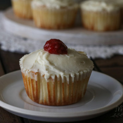 Low Carb Vanilla Cupcakes with Cream Cheese Frosting and Strawberry Jam Filling